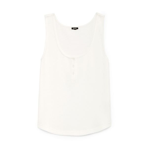 Monrow Tissue Thermal Loose Henley Tank