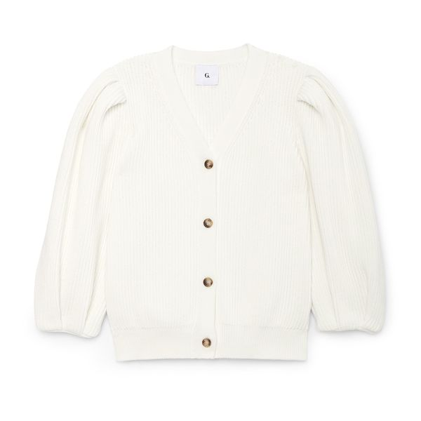 G. Label Hill Ribbed Puff-Sleeve Cardigan
