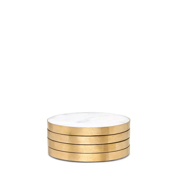 Hawkins New York Marble-and-Brass Coasters, Set of 4