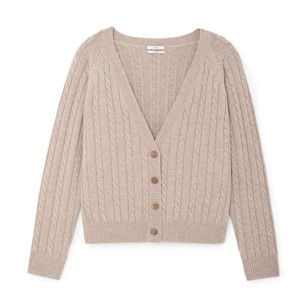 Co Cropped Cable-Knit Cardigan