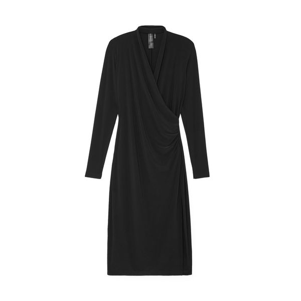 Norma Kamali Long-Sleeve Side-Drape Gown