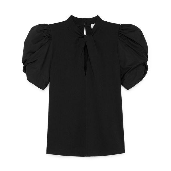 G. LABEL Ella Pleat-Neck Puff-Sleeve T-Shirt