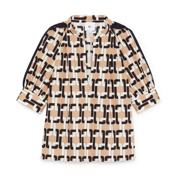 G. LABEL Maggie Puff-Sleeve Printed Top